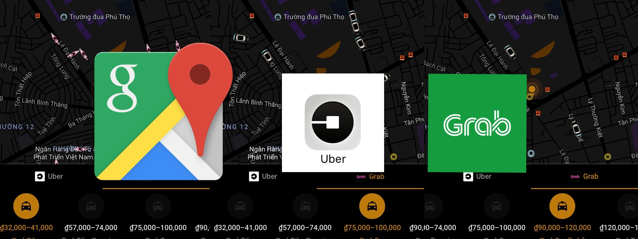 Google Map Việt Nam cập nhật hiển thị vị trí xe Grab, Uber, giá cước